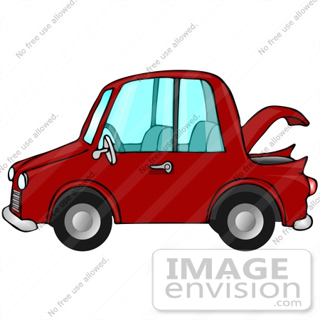 450x450 Clip Art Graphic Of A Red Compact Car With The Trunk Open