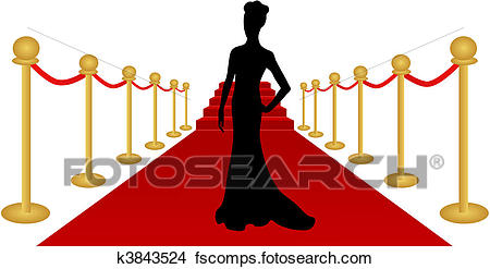 450x247 Clipart Of Woman Silhouette Red Carpet Vector K3843524