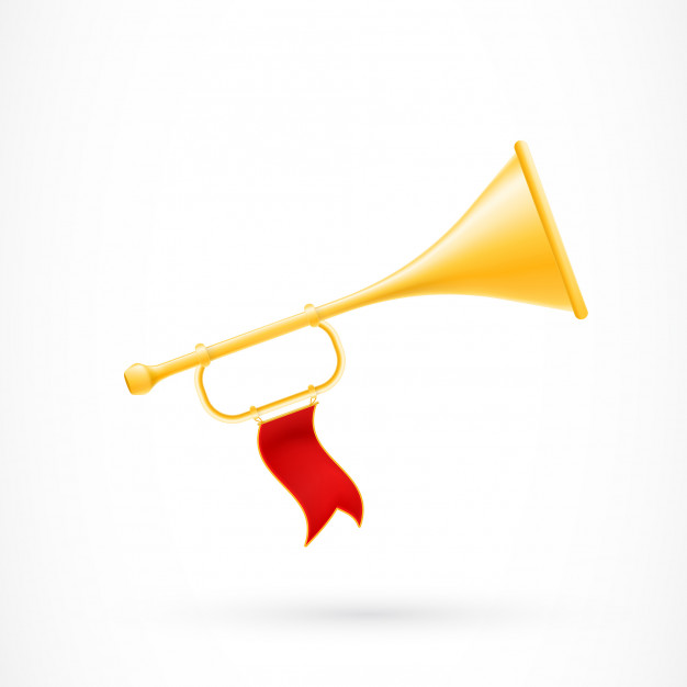 626x626 Trumpet With Red Flag Vector Free Download
