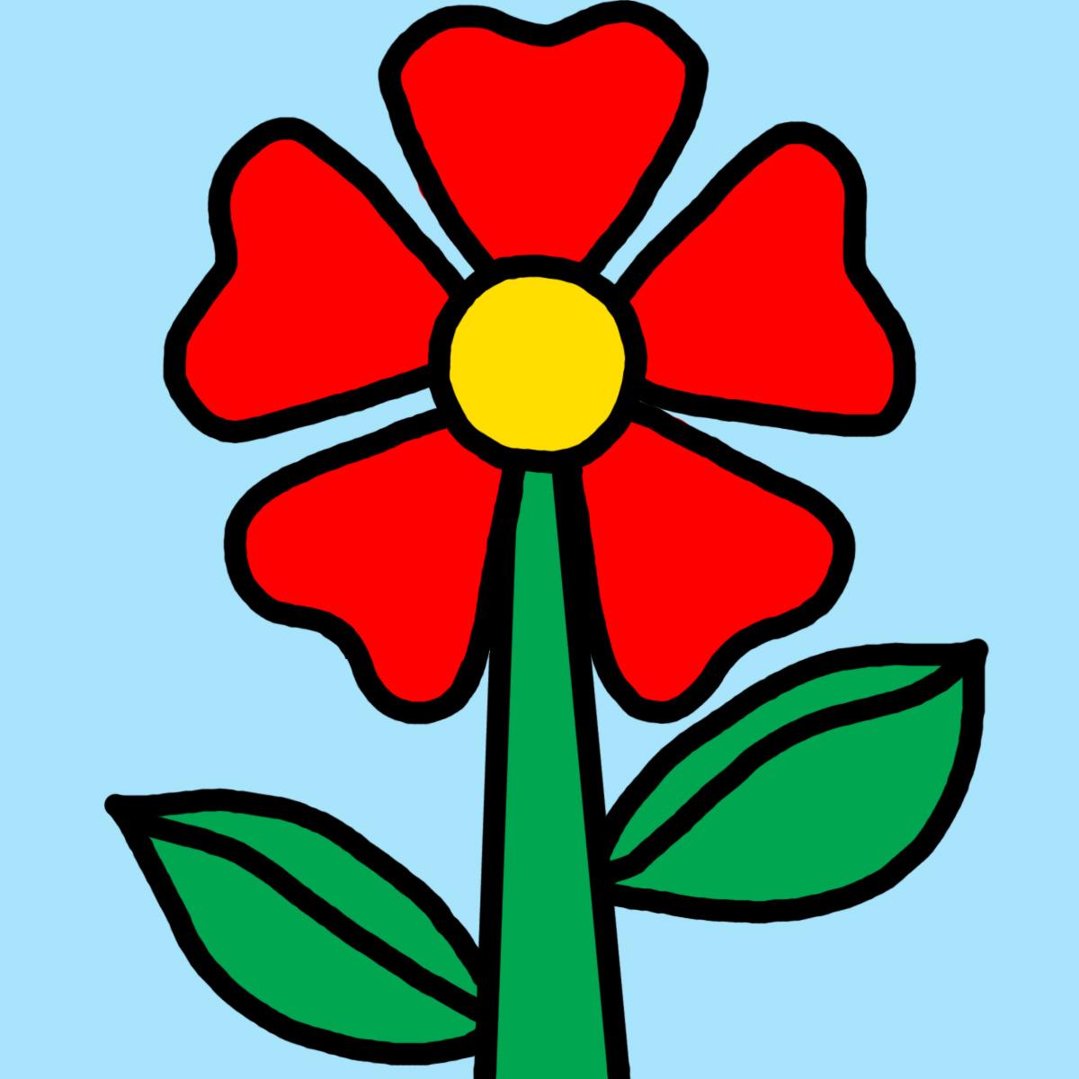1200x1200 Red Flower Clipart Word Art