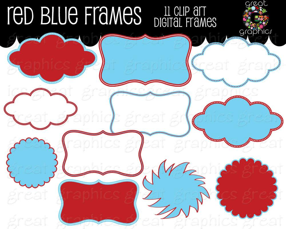 1000x800 Red And Blue Frame Kids Birthday Party Digital Frame Clipart