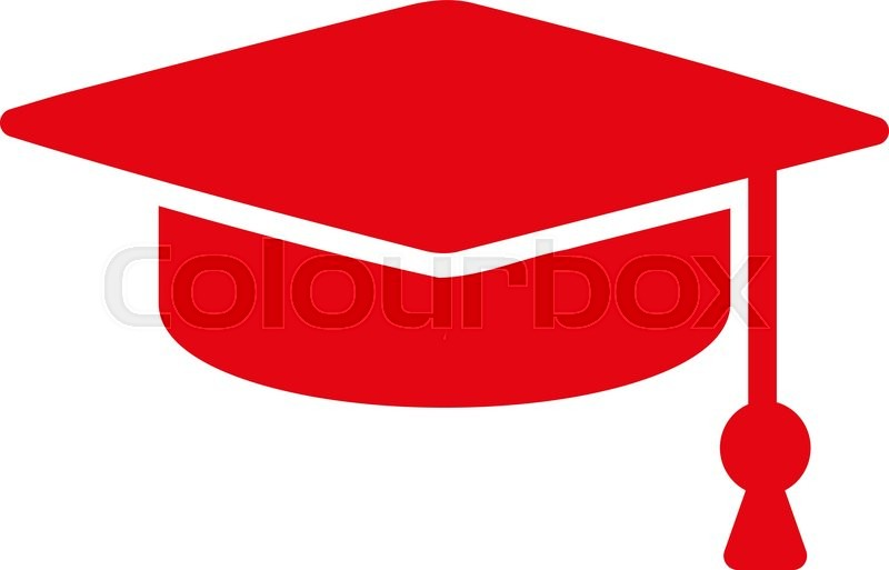 800x513 Graduation Cap Vector Icon. Style Is Flat Symbol, Red Color