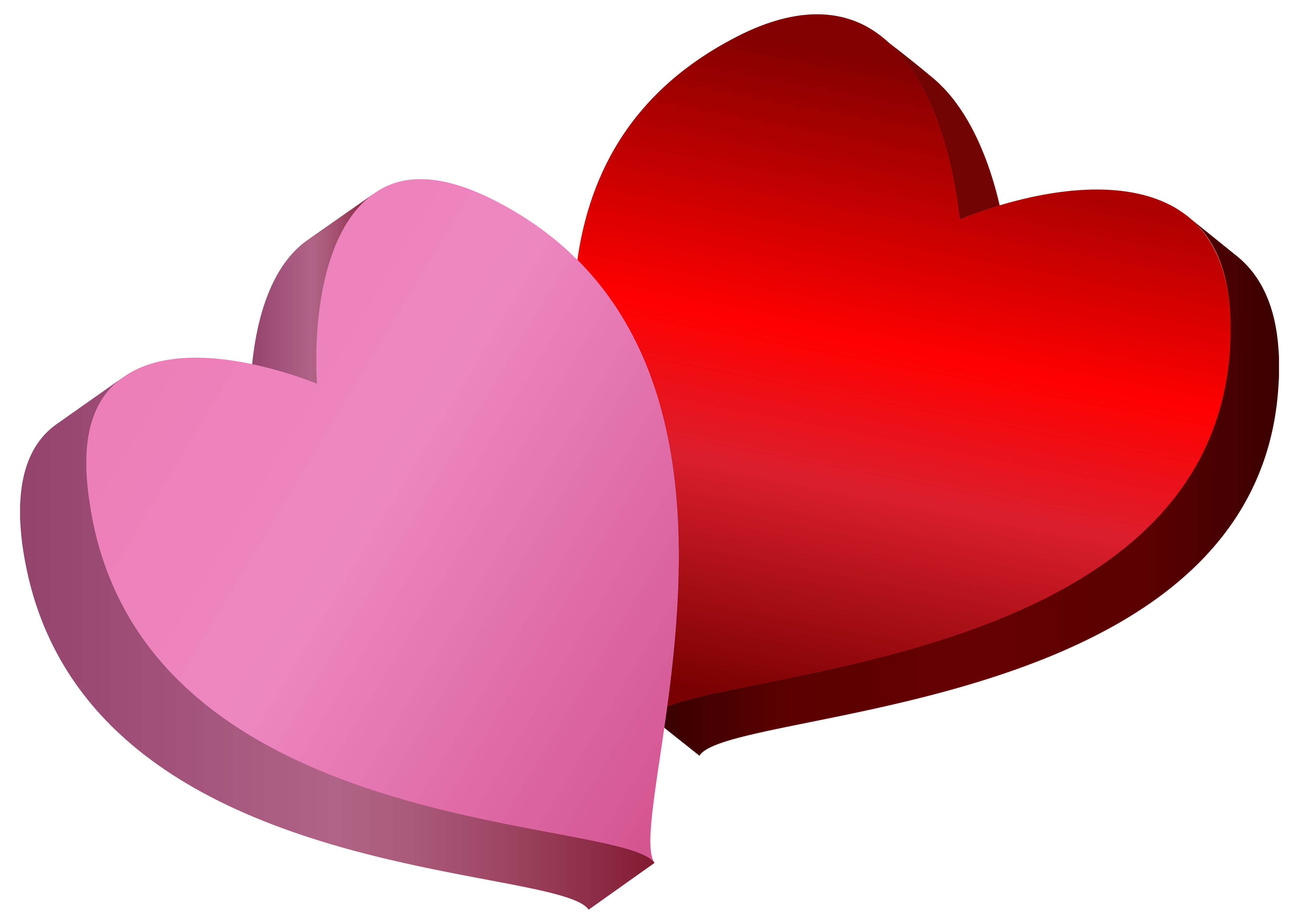 5000x3557 Pink And Red Hearts Png Clipart