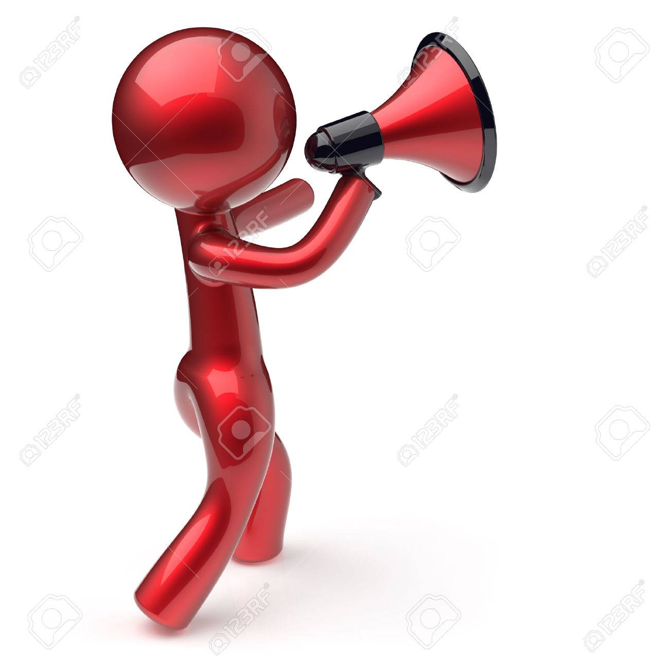 1300x1300 Announcement Man Megaphone Character Speaking Making News Red