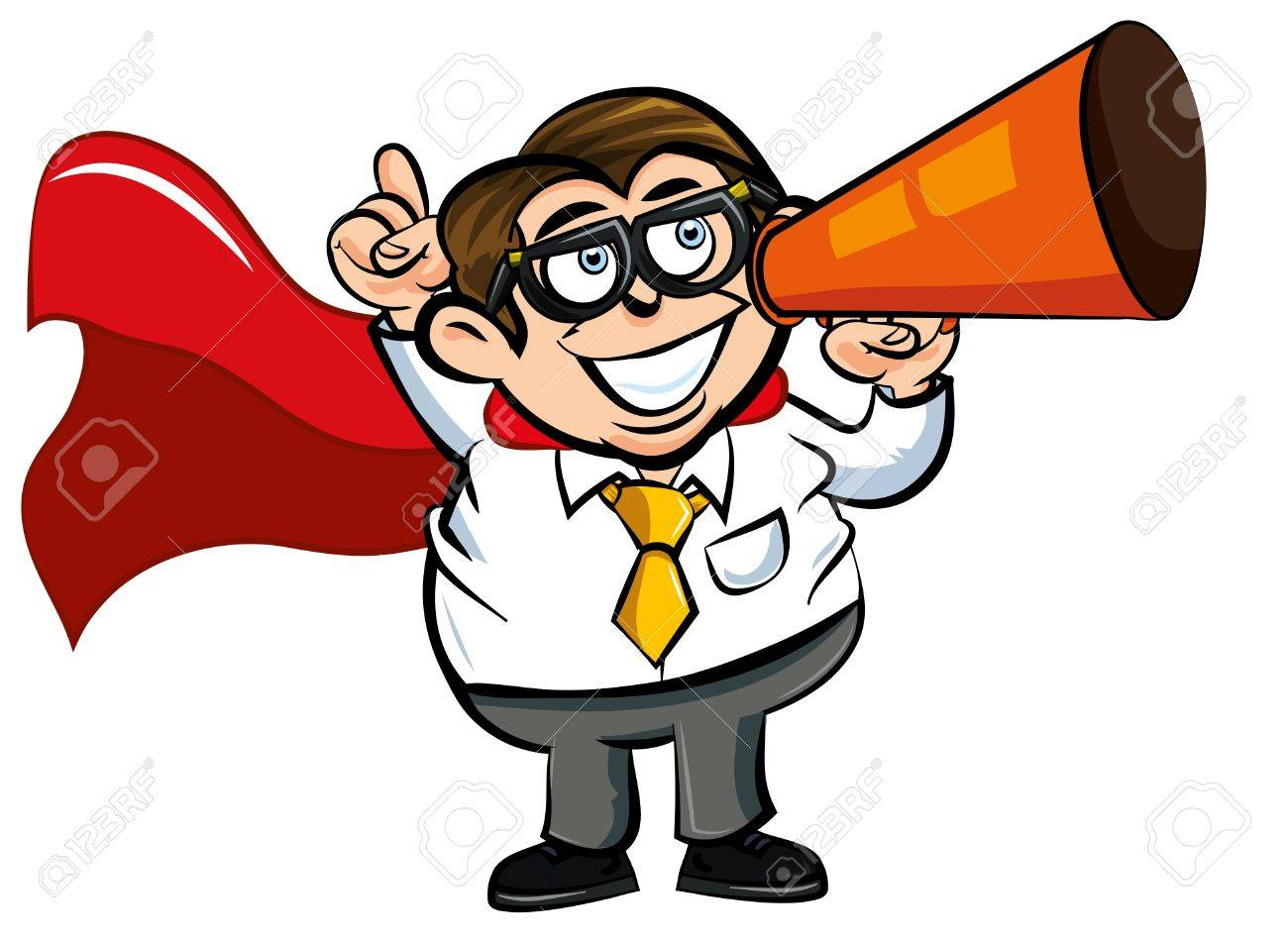 1300x951 Cartoon Superhero Office Nerd With Cape And Megaphone Royalty Free