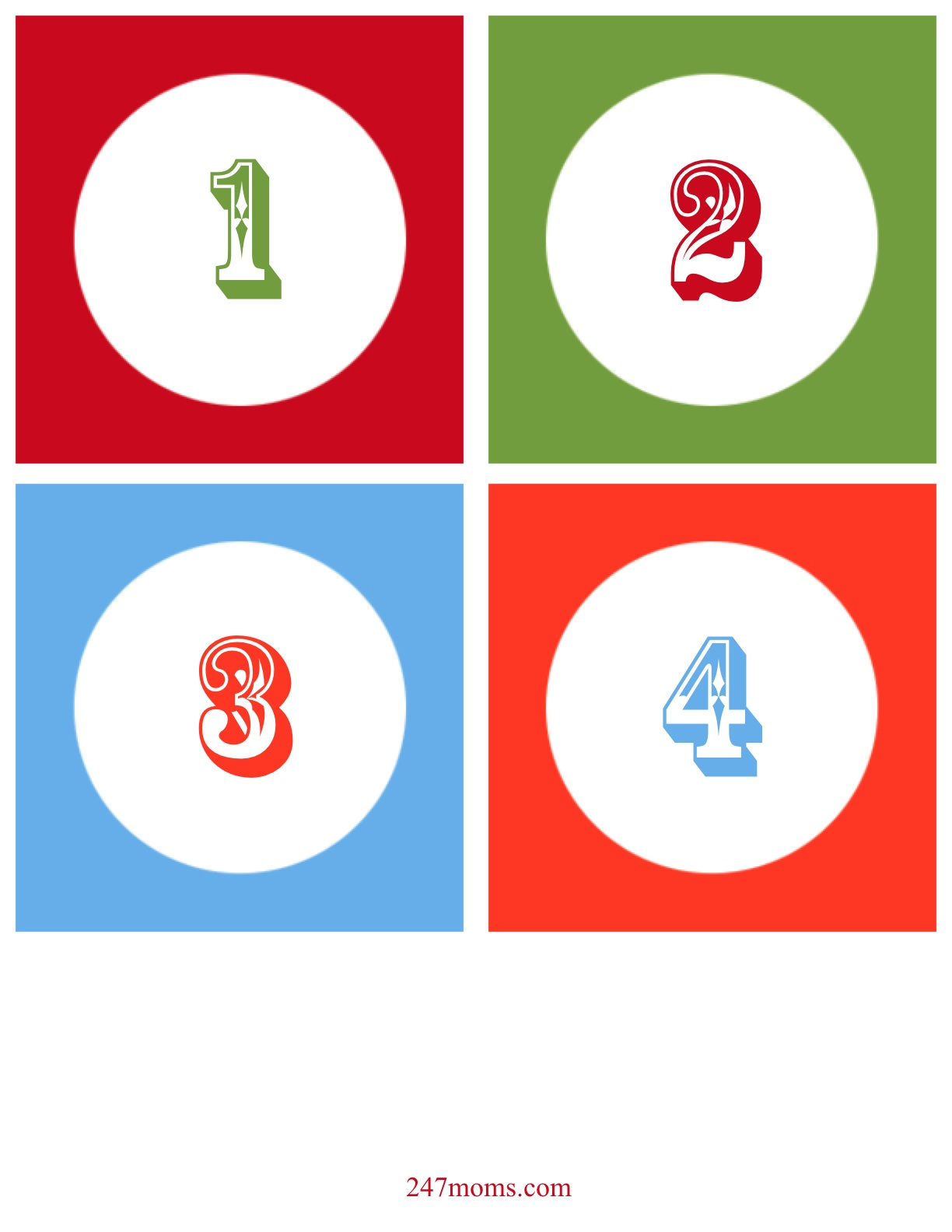 1224x1584 Christmas Numbers Clipart