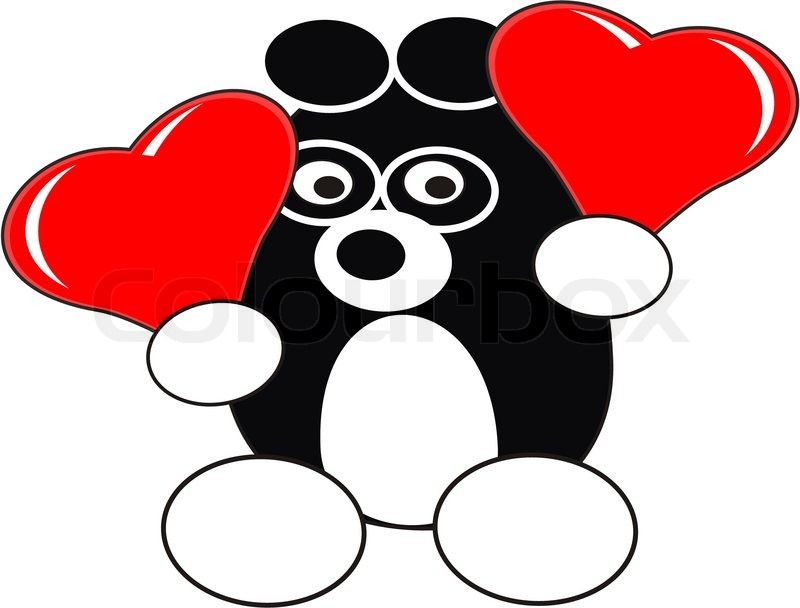 800x608 Cartoon Enamored Baby Panda Toy With Red Heart Balloons In Love
