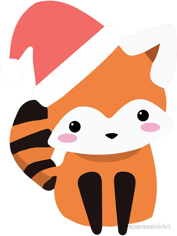 602x800 Cute Kawaii Red Panda Wearing Christmas Hat Graphic Stickers By