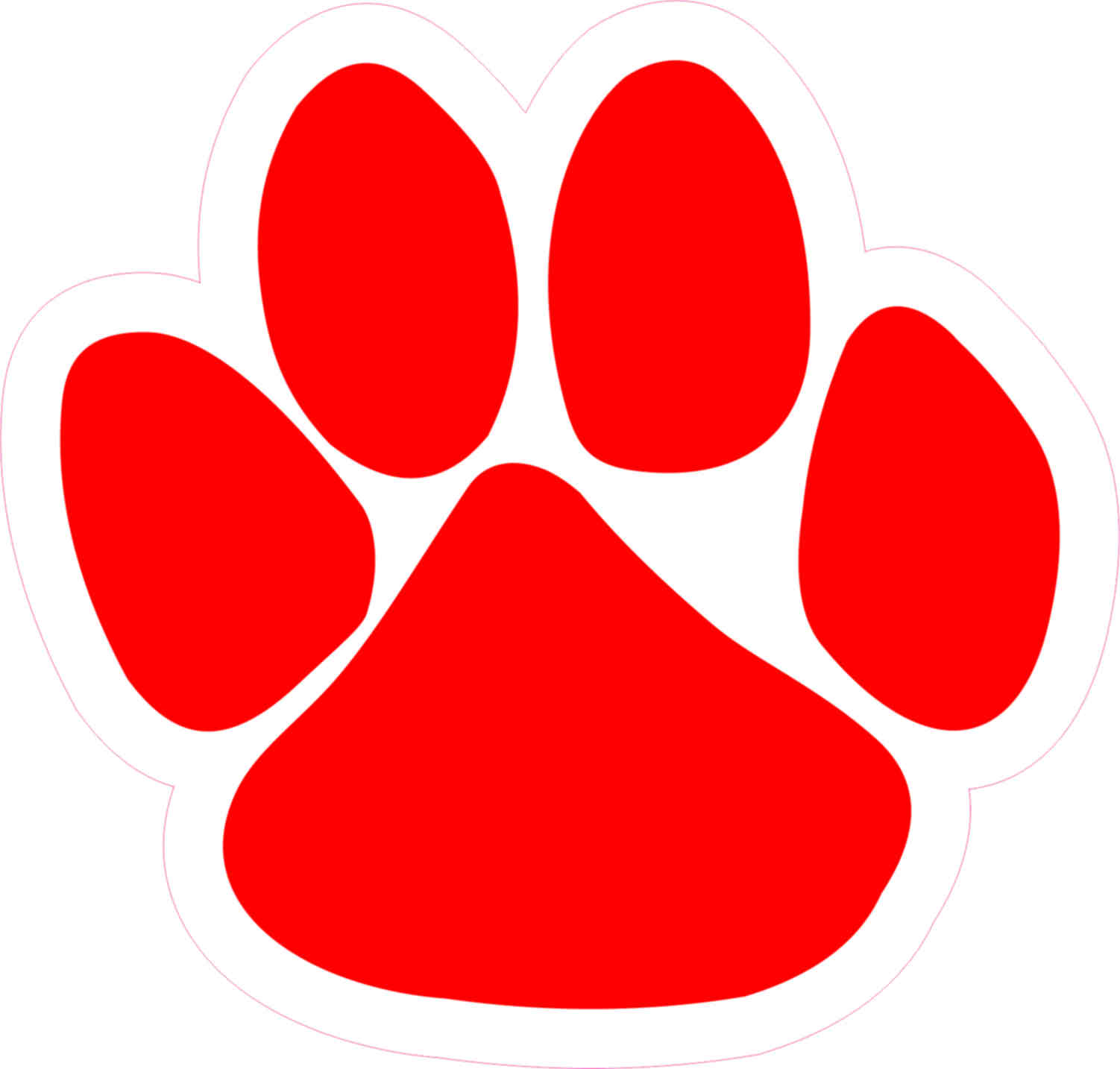 1502x1434 4.75in X 5in Red Paw Print Bumper Sticker Vinyl Car Window Mascot