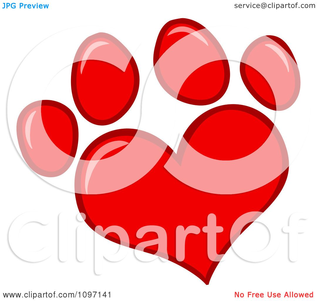 1080x1024 Clipart Red Heart Shaped Dog Paw Print