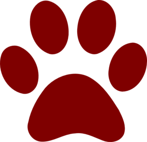 299x288 Dark Red Paw Print Clip Art