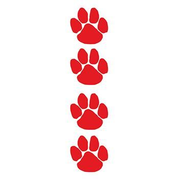 350x350 Glitter Red Paw Print Temporary Tattoo For Fundraising