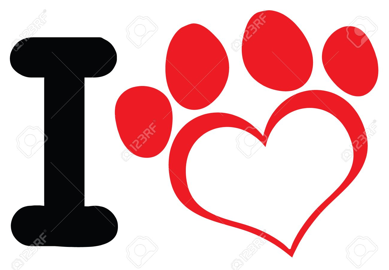 1300x901 I Love Dog With Red Heart Paw Print Logo Design. Illustration