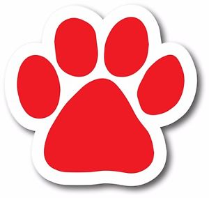 300x284 Paw Print Magnet Red Decal Without Words For Car Truck Suv