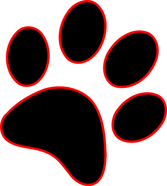 534x594 Red Cat Paw Print Clipart