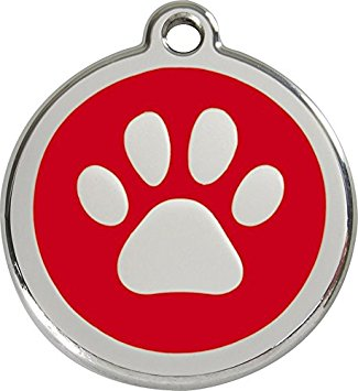325x355 Red Dingo Paw Print Enamel Dog Tag Red