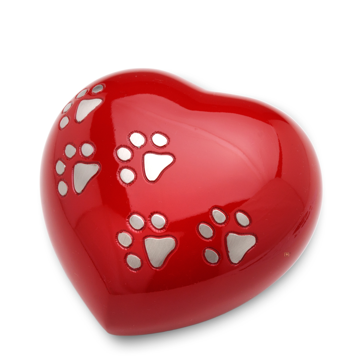 1200x1200 Red Paw Print Heart Urn