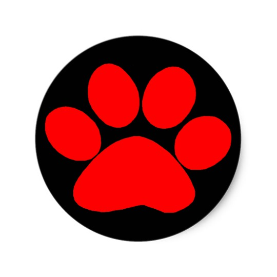 540x540 Red Paw Print Stickers