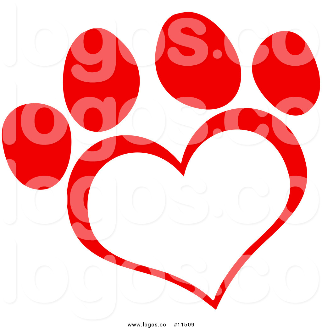 1024x1044 Royalty Free Clip Art Vector Logo Of A Red Heart Shaped Paw Print