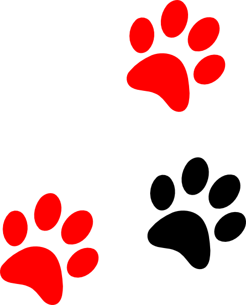 480x594 Blackred Paw Print Clip Art