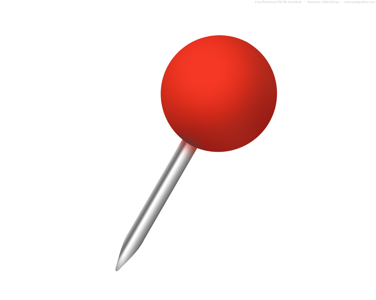 1280x1024 Rounded Red Push Pin Clipart
