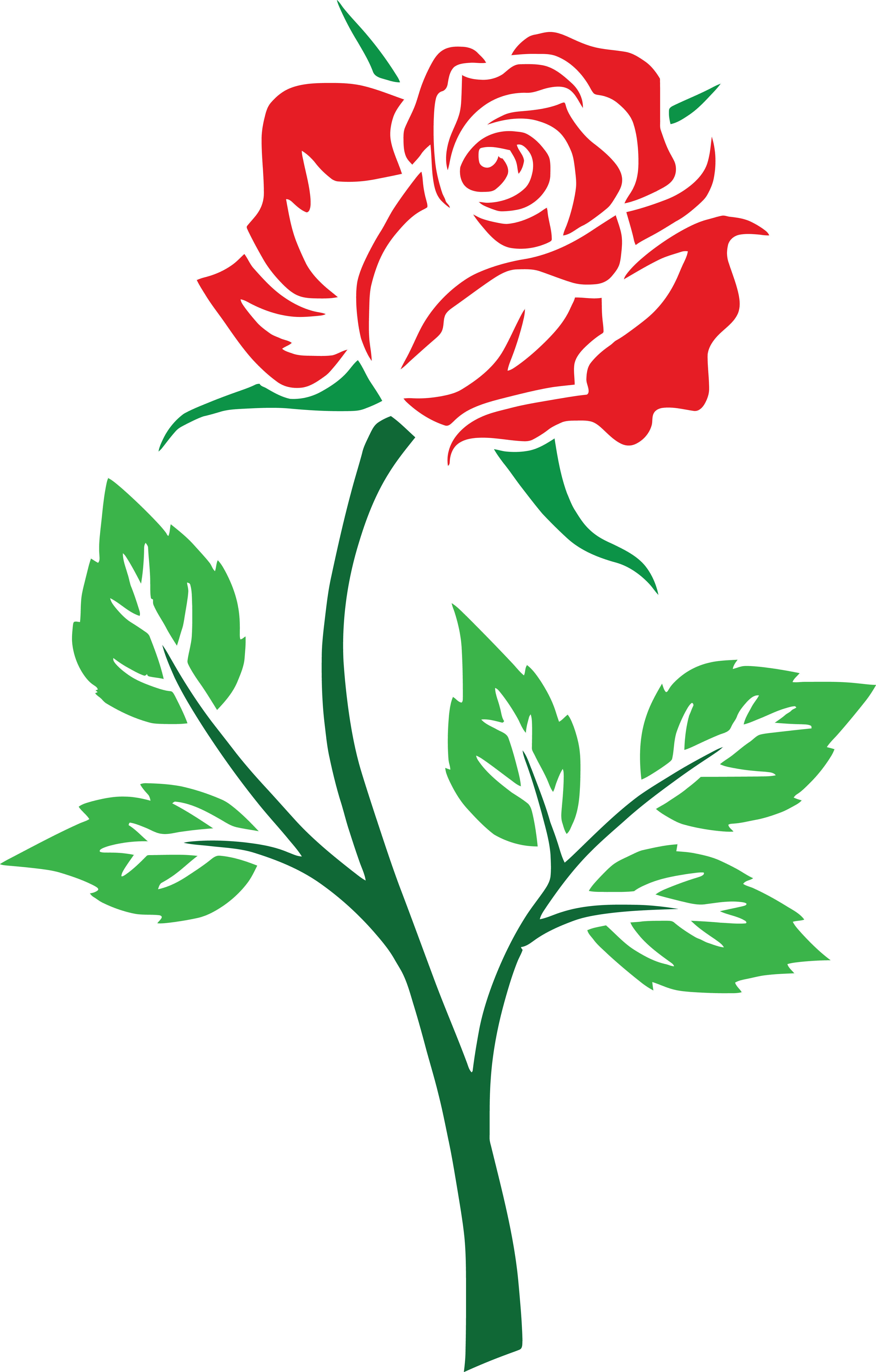 4000x6264 Clipart Of A Red Rose