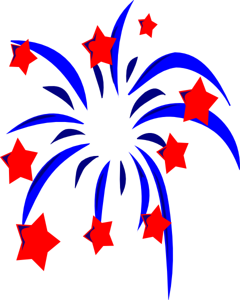 480x600 Blue Fireworks With Red Stars And Accents Clip Art
