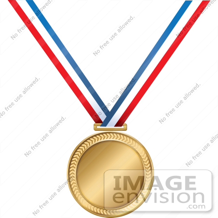 450x450 Clip Art Graphic Of A Golden First Place Medal On A Red, White