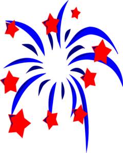 240x300 Blue Fireworks With Red Stars And Accents Clip Art