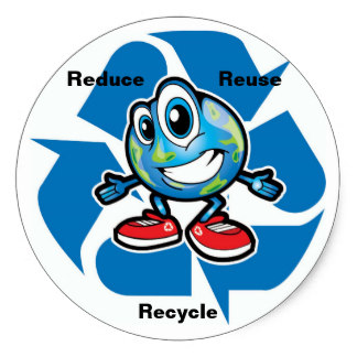 324x324 Earth Reduce Reuse Recycle Stickers Zazzle
