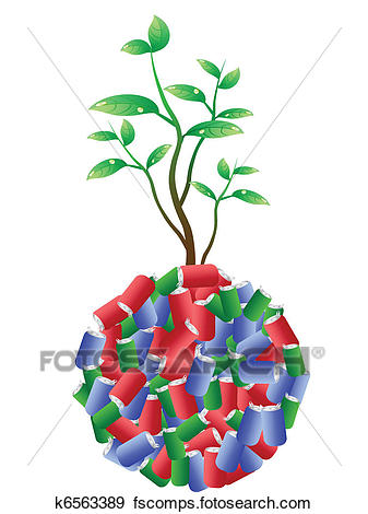 337x470 Clip Art Of Green Plant Growing From Recycling Aluminum Cans