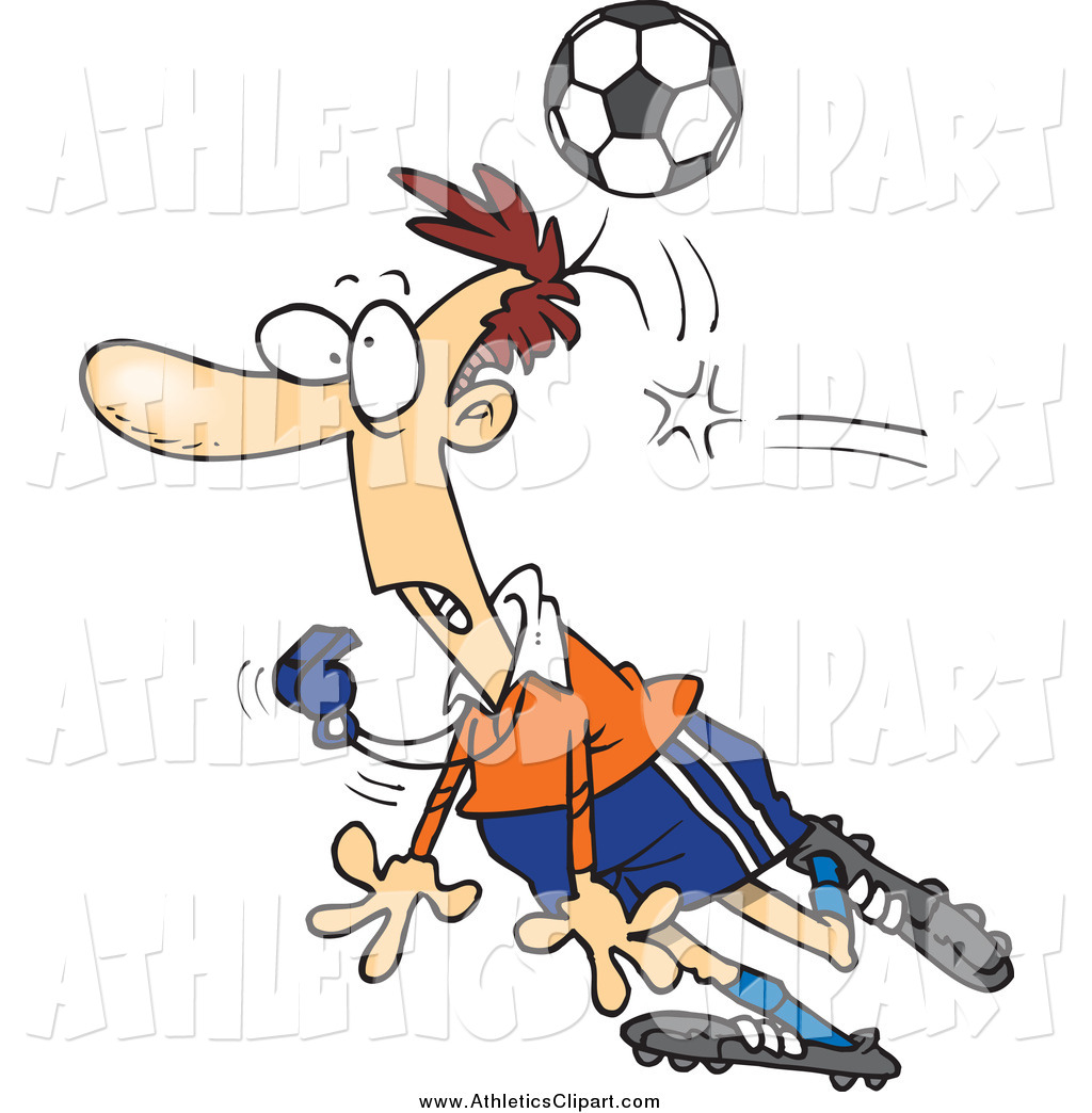 1024x1044 Clip Art Of A Cartoon Soccer Ball Hitting A White Male Referee By