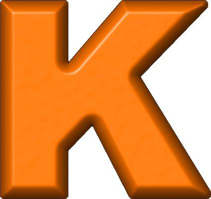 424x400 Presentation Alphabets Orange Refrigerator Magnet K Letters