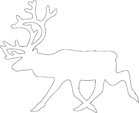 555x450 Clip Art Warning Reindeer Roadsign Black White