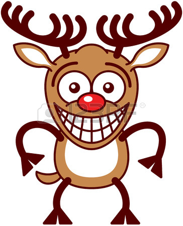 364x450 Nice Brown Reindeer With Big Antlers And Red Nose While Crossing