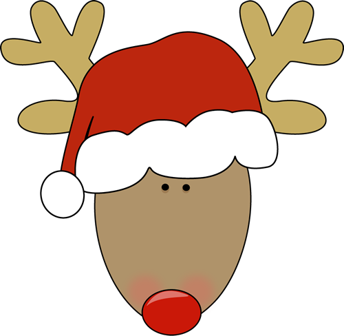 500x488 Reindeer Wearing A Santa Hat. Christmas Clip Art
