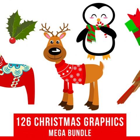480x480 126 Christmas Clipart Mega Bundle, Winter Clipart, Holiday Clipart