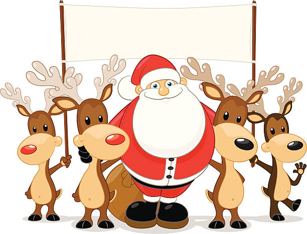 612x467 Santa And His Reindeer Holding A Blank Sign Christmas Clip Art 2
