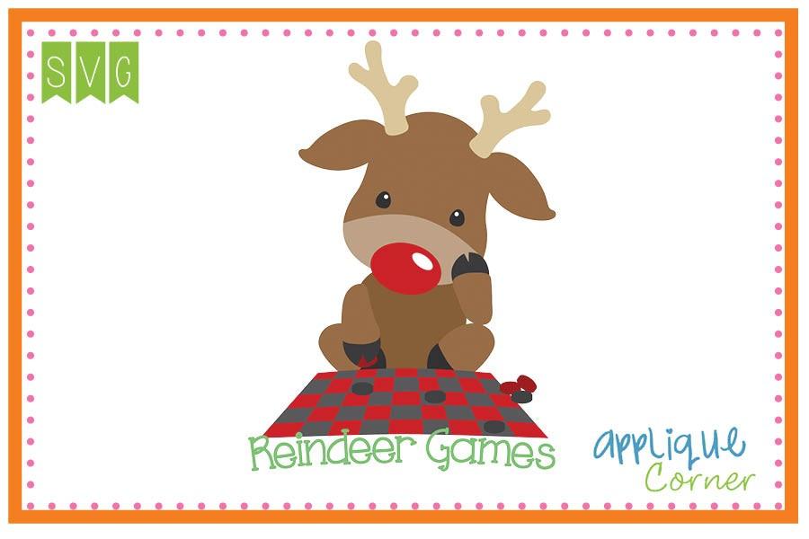 900x600 Applique Corner Reindeer Games Cuttable Svg Clipart