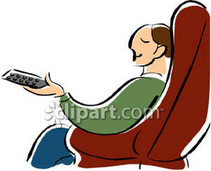 300x244 Relaxing In An Easy Chair With Remote Control Clip Art