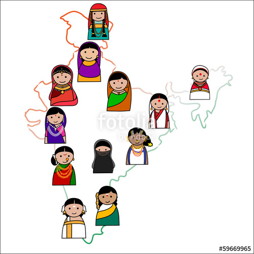 500x500 Big Crowd Of Indian Women Vector Avatars In Shape Of Indian Map