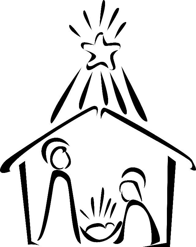 640x807 Black Amp White Clipart Nativity