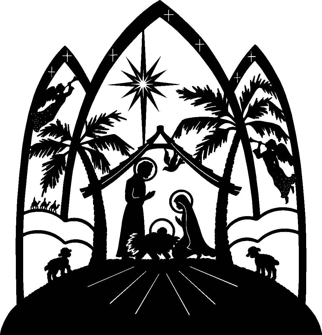 1056x1099 Free Black And White Religious Christmas Clipart