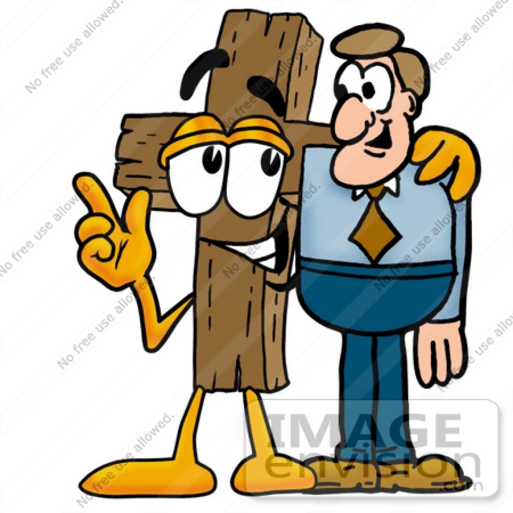 1024x1024 Cliprt Graphic Of Wooden Cross Cartoon Character Talking