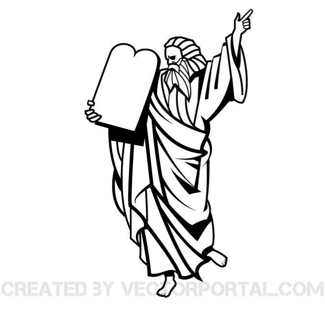 660x660 Vector Illustration Of Moses. Religious Clip Art Graphics Image