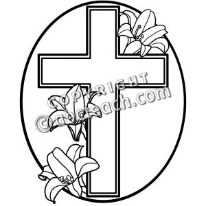 300x300 Easter Cross Clipart Black And White