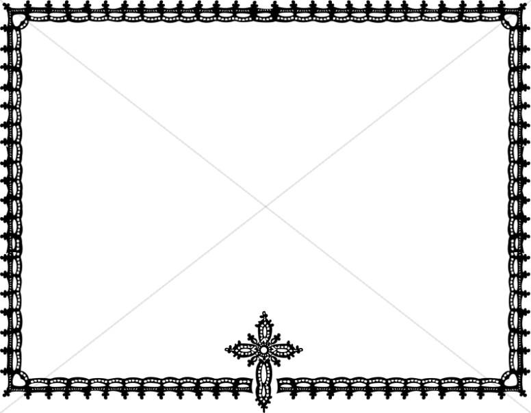 776x603 Ornate Black And White Cross Horizontal Frame Religious Borders