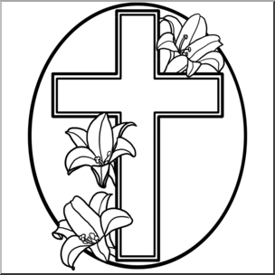 304x304 Clip Art Religious Cross With Easter Lilies Bampw I