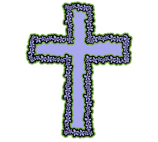 600x541 Easter Flower Cross Clipart