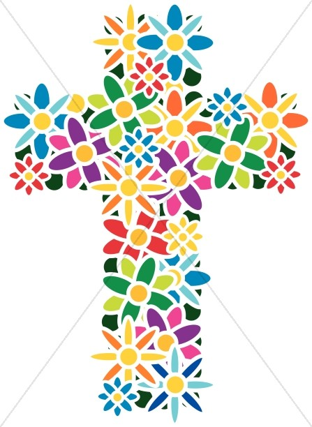 447x612 Flower Cross Easter Clipart